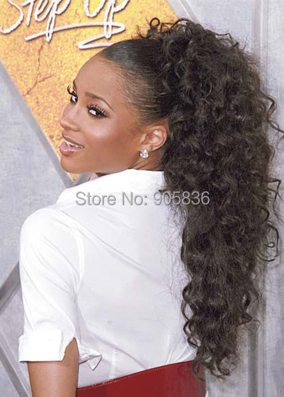 high weight Ciara\'s long curly ponytail hairstyle Clip in high dark ...