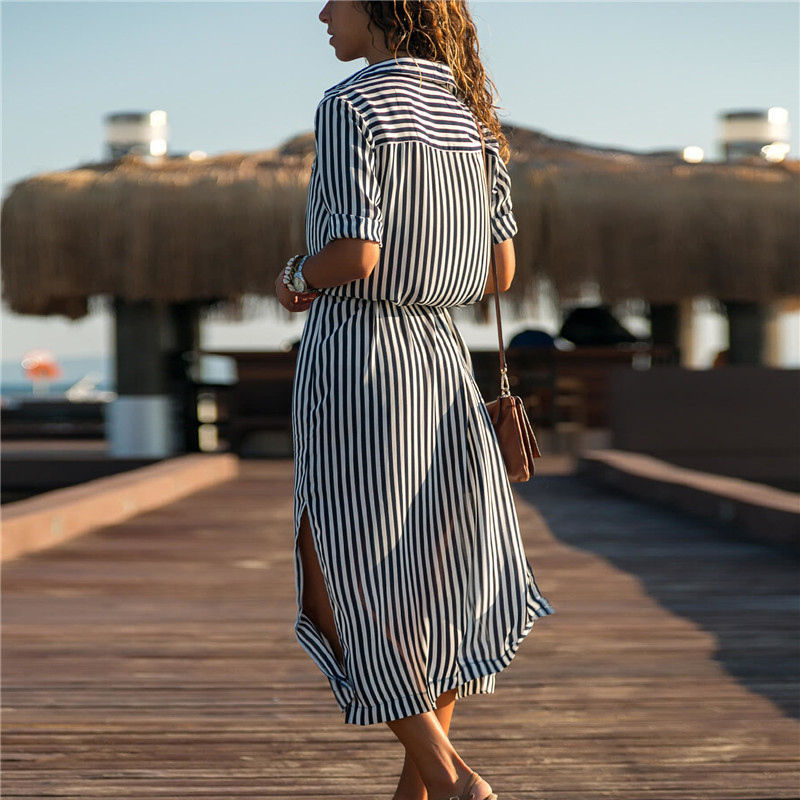 2019 Turn Down Collar Office Ladies Stripe Shirt Dress Long Chiffon Beach Dress Casual Long Sleeve Elegant Party Dress Vestidos 4