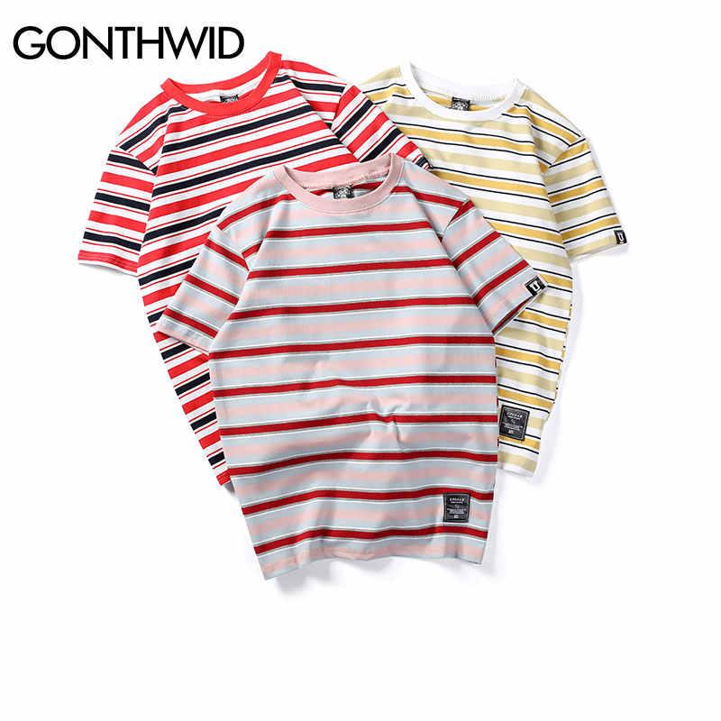 GONTHWID Harajuku חולצות T פס גברים/מזדמנים היפ הופ נשים הכותנה שרוול קצר חולצות Tshirts האופנה קיץ שחור אדום ורוד