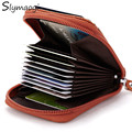 Genuine Leather Women Card Holder Wallets High Quality Female Pillow Purse Fashion Organ 5 Color Zipper Credit Card Holders