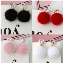 One Direction 2018 New Temperament Short Paragraph Earrings Personality Wild Simple Brown Hair Ball Wom Bijoux Boucle D'oreille(China)
