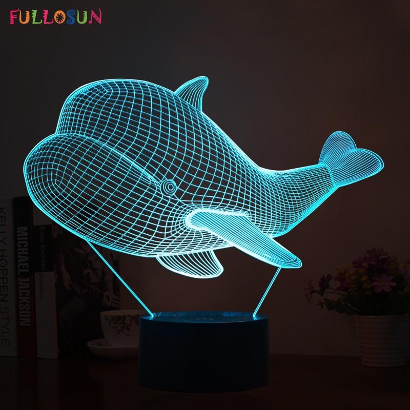 Cutely 3D Visual Animal Whale Shlight-lampor LED-sensorlampor med - Nattlampor