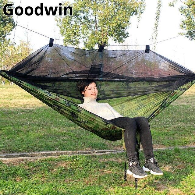 Rede Ao Ar Livre portátil para 2 pessoas Jardim Pendurado Cama Exército Verde/Camo Caça Ao Ar Livre Camping Mosquiteiro Parachute Hammock