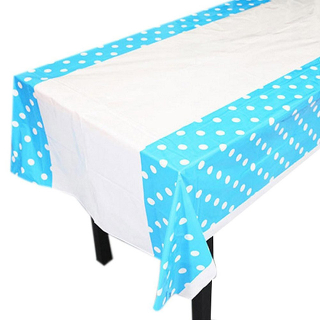 2018 High Quality 108 180cm Polka Dots Party Plastic Tablecloth Cover For Kids Birthday Home