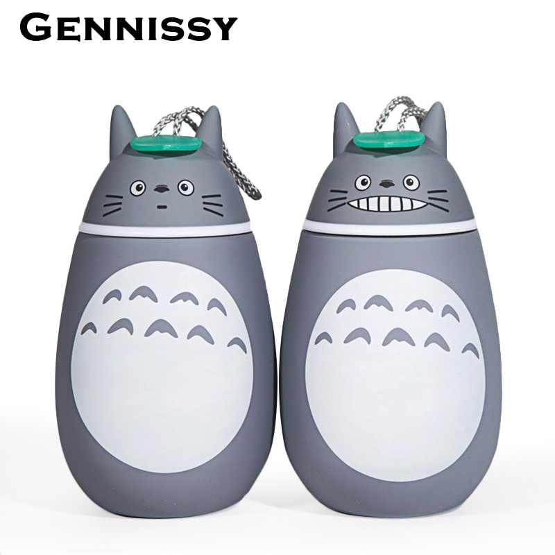 GENNISSY 280ml Vacuum Cartoon Totoro Thermos Bottle Stainless Steel Thermal 0 6 Hours Heat For Water