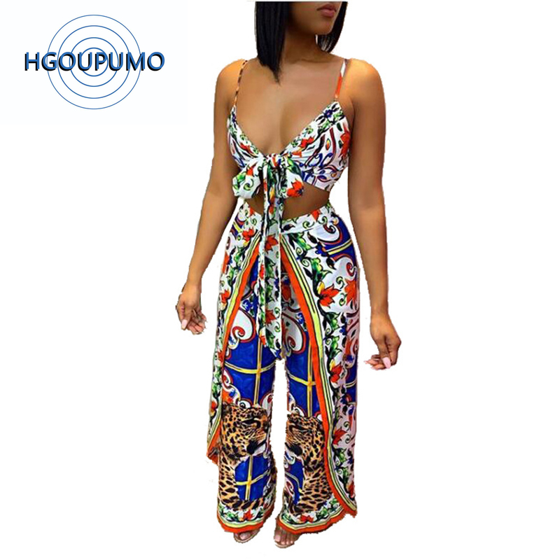 Floral Print Vintage Two Piece Tracksuit Women Spaghetti Strap Backless Crop Top And Wide Leg Pant Summer Club Outfit 20190529