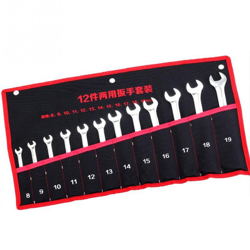 8/12/14 Pockets Roll Up Wrench Tools Foldable Storage Bag Canvas Spanner Wrench Organizer Pouch Case random color