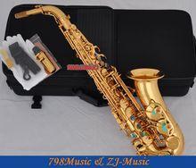 Electrophoresis Gold Alto Saxophone Abalone Shell Key Sax High F Double Rails New