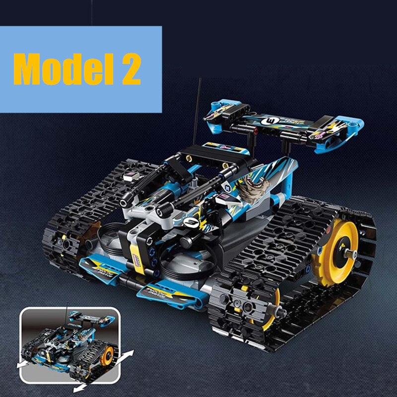 Nouveau MOC RC voiture de course à chenilles moteur électrique fonction d'alimentation fit legoings technic city bloc de construction brique modèle enfant cadeau - 3