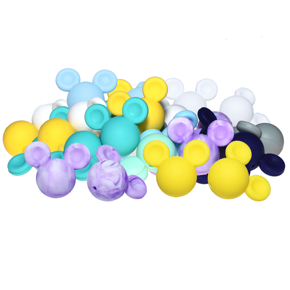 Happyfriends 10 pieces Large Mickey Mouse Shape Beads BPA Free DIY Baby Chew Teething Toys Silicone Beads Baby Teether Jewelry in Baby Teethers from Mother Kids