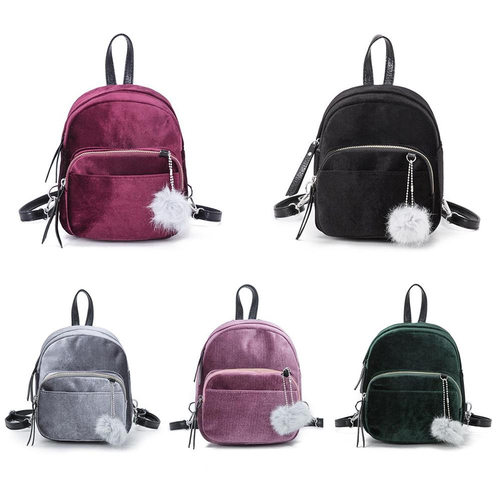 Women Girls Mini Velvet Backpack Small Fashion Travel School Student Shoulder Bag With Pom Ball Backpack For Teenage Girls Bags tegaote new design women backpack bags fashion mini bag with monkey chain nylon school bag for teenage girls women shoulder bags