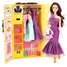 Newest fashion 20 Items/set= yellow dressing wardrobe doll shoes hanger accessories for 11.5 inch barbie doll best gift