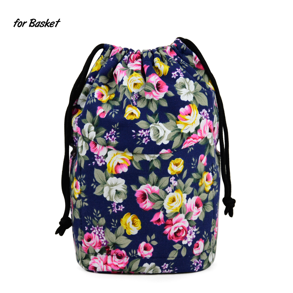 New Upgraded Drawstring Canvas Fabric Inner Pocket Lining For Obasket Obag Handbag Insert For Insert O Basket O Bag