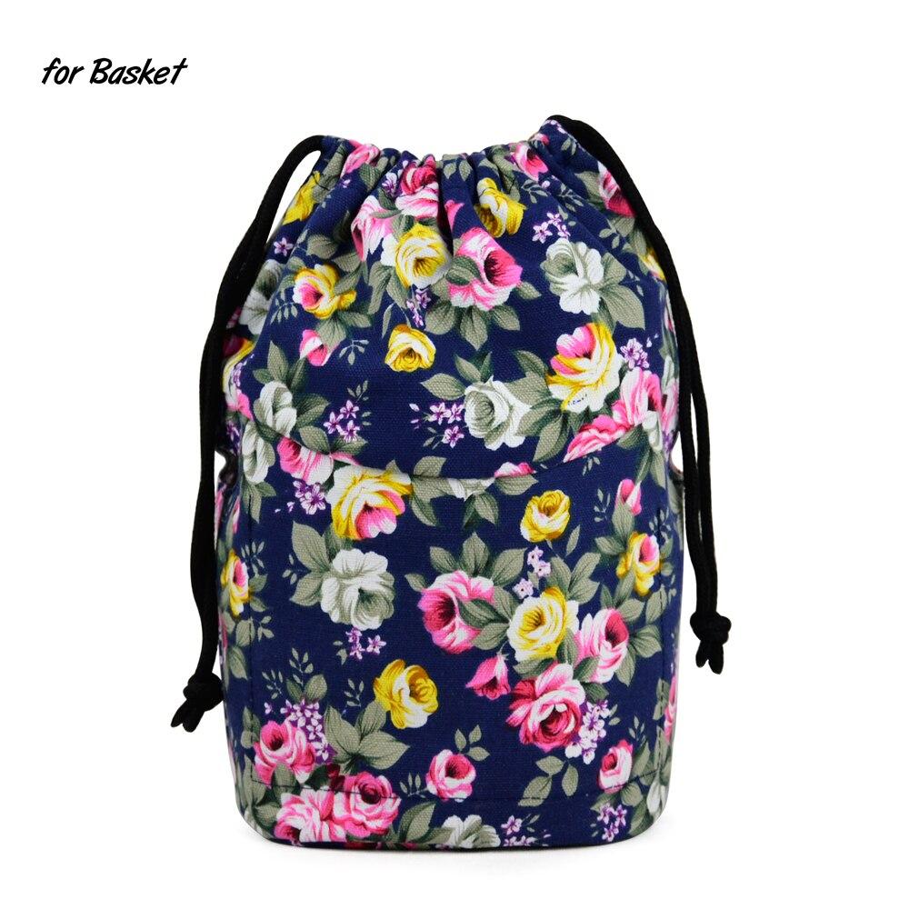 New Upgraded Drawstring Canvas Fabric Inner Pocket Lining For Obasket Obag Handbag Insert For Insert O Basket O Bag