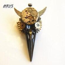 steampunk rock punk big bird skull skeleton beak watch parts gears brooch pins badge men women jewelry christmas gift party new