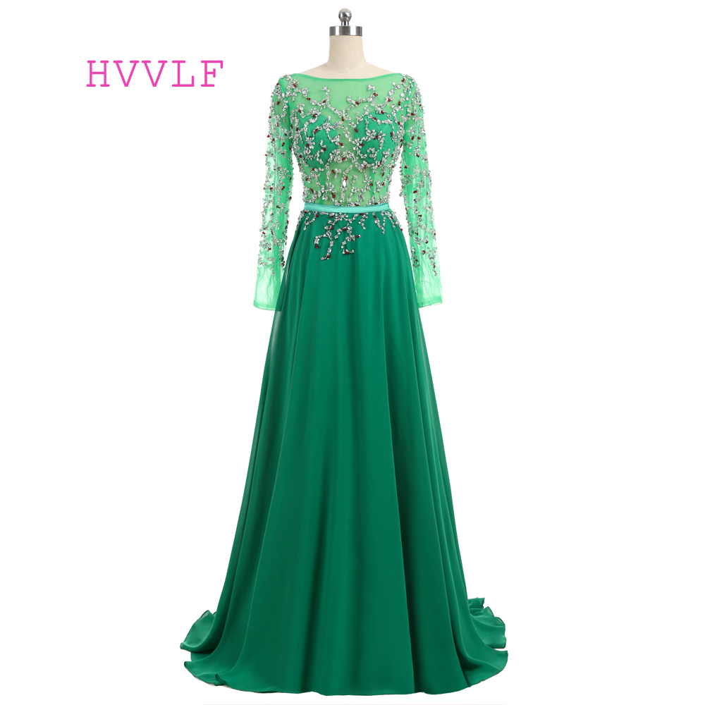 New Green 2019   Prom     Dresses   A-line Long Sleeves Chiffon Beaded Crystals Open Back Long   Prom   Gown Evening   Dresses   Evening Gown