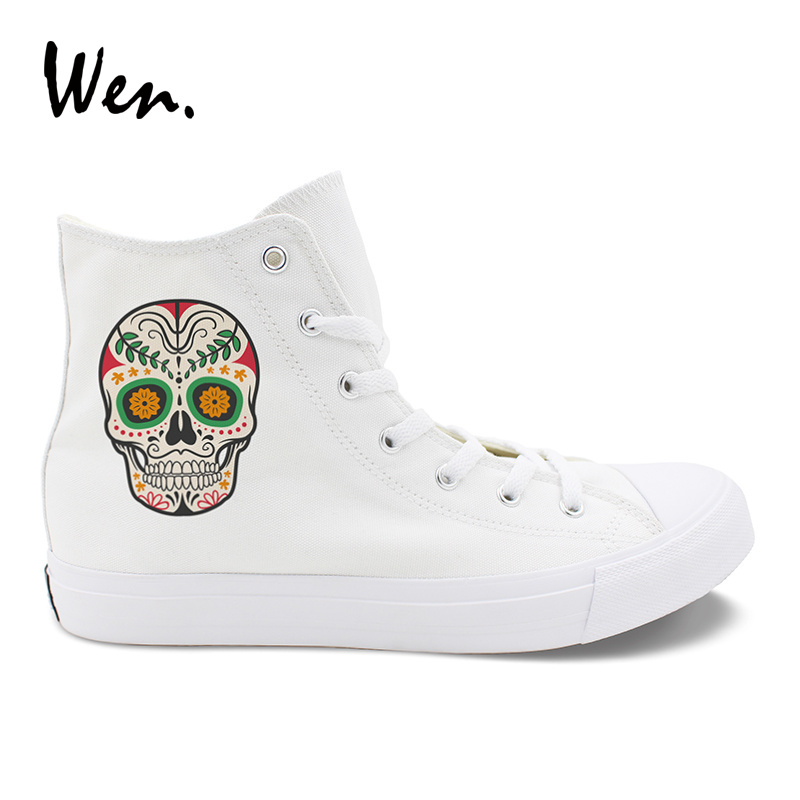 Men's Vulcanize Shoes Men's Shoes Practical The Nightmare Before Christmas Styles Canvas Shoes Special Luminous Skull Jack Hand Painted Shoes Black High Top Men Sneakers Without Return