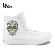 купить Wen Design Colorful Mexican Style Skull Tattoo White Black Men Canvas Shoes High Top Lace Up Women Casual Sneakers Choices дешево