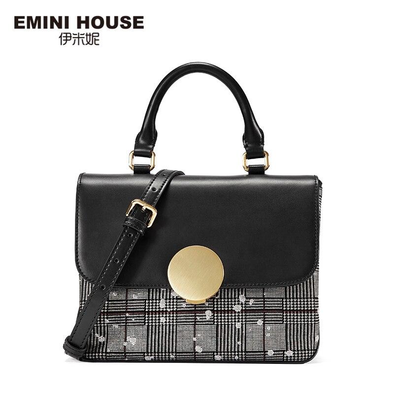 EMINI HOUSE ลายสก๊อต Patchwork กุญแจด้านบนแยกกระเป๋าถือหนังหรูผู้หญิงกระเป๋าออกแบบกระเป๋า Crossbody ผู้หญิง-ใน กระเป๋าสะพายไหล่ จาก สัมภาระและกระเป๋า บน   2