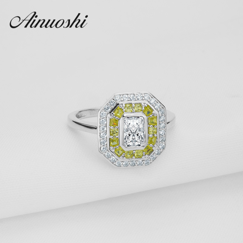 Luxury Square Yellow White Color Halo Ring Sona Princess Ring 925 Sterling Silver Plain Band Wedding