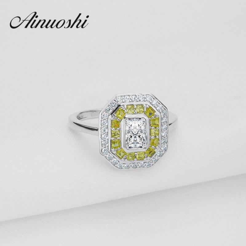 Роскошные площади желтый белый цвет Halo Кольцо SONA принцессы кольцо стерлингового серебра 925 плотная обручальное кольцо обручальное бесконе...
