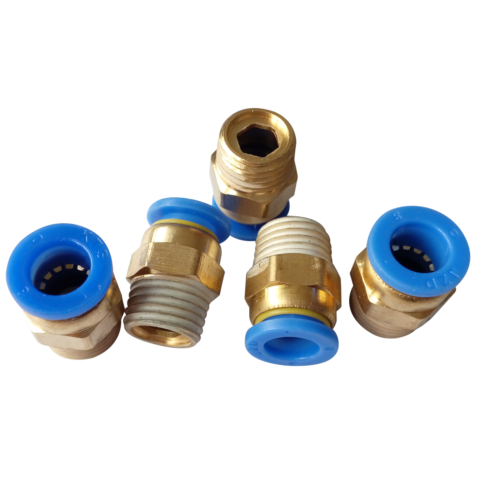 5 pcs air quick connector 8mm Pneumatic Fitting 1/8 BSPT Male Straight Union Push-in Fitting PC8-01 air pneumatic connector 6mm od hose tube push in m5 1 8 1 4pt 3 8 1 2 bspt male thread l shape gas quick joint fittings