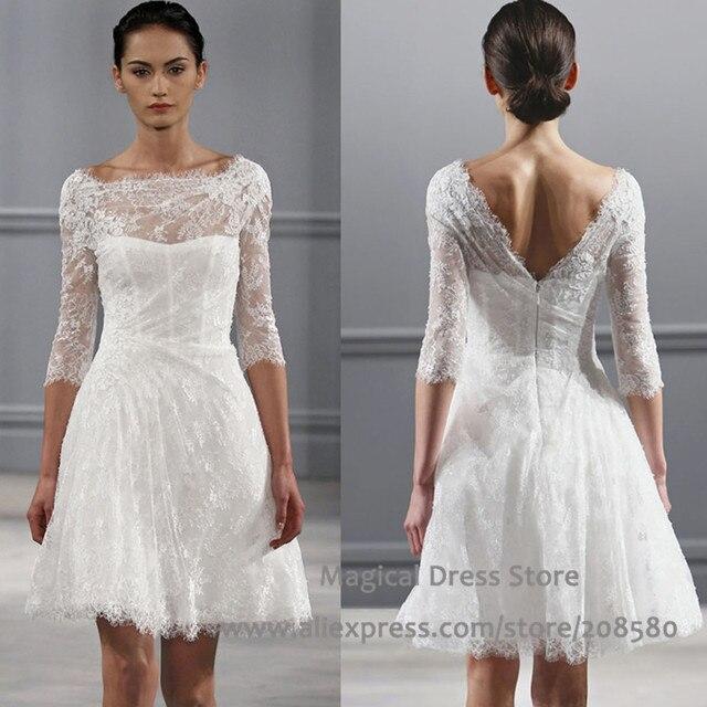 Aliexpress.com : Buy Summer Style Lace Short Wedding Dress 2016 A ...