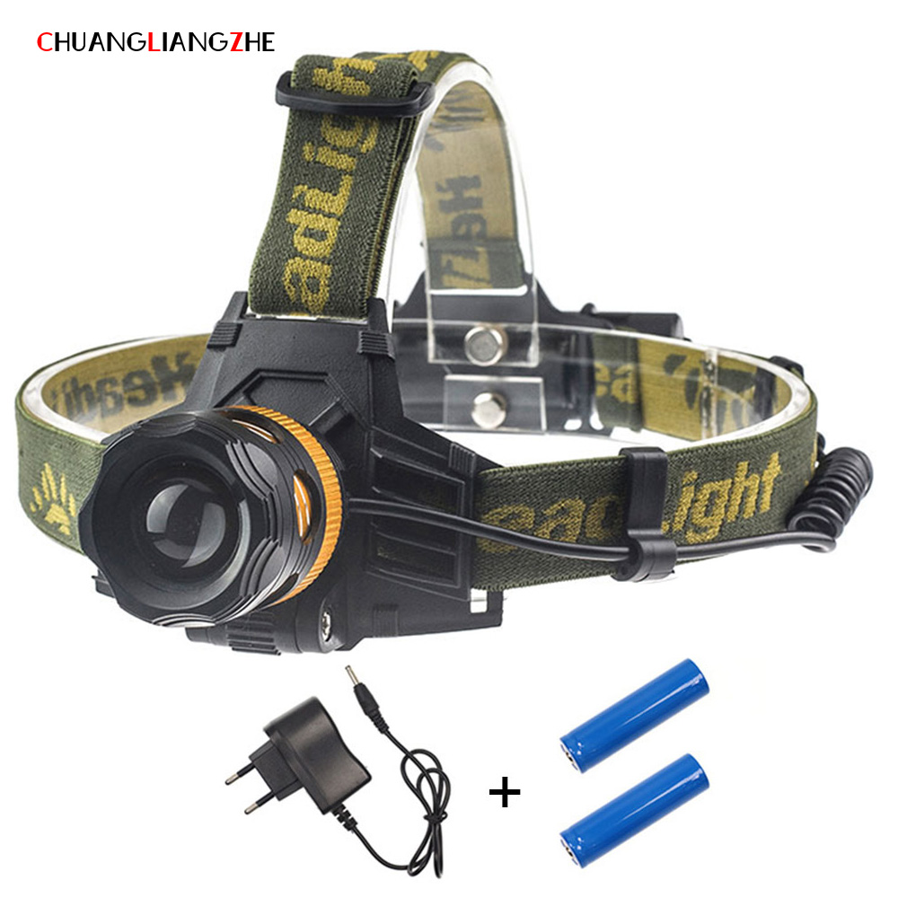 CHENGLIANGZHE LEDT6hunting projecteur lampe de poche à double usage batterie 18650 rechargeable étanche lumière tournant zoom phare