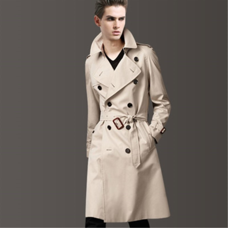 Spring Autumn Male Simplicity Trench Men's Clothing Fashionable Casual With Belt Coat Men's Double Breasted Long Design Trench