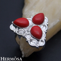 HERMOSA Jewelry Fashion Accessories Water Droplets Natural Red Coral Unique 925 Sterling Silver 3 Stone Ring