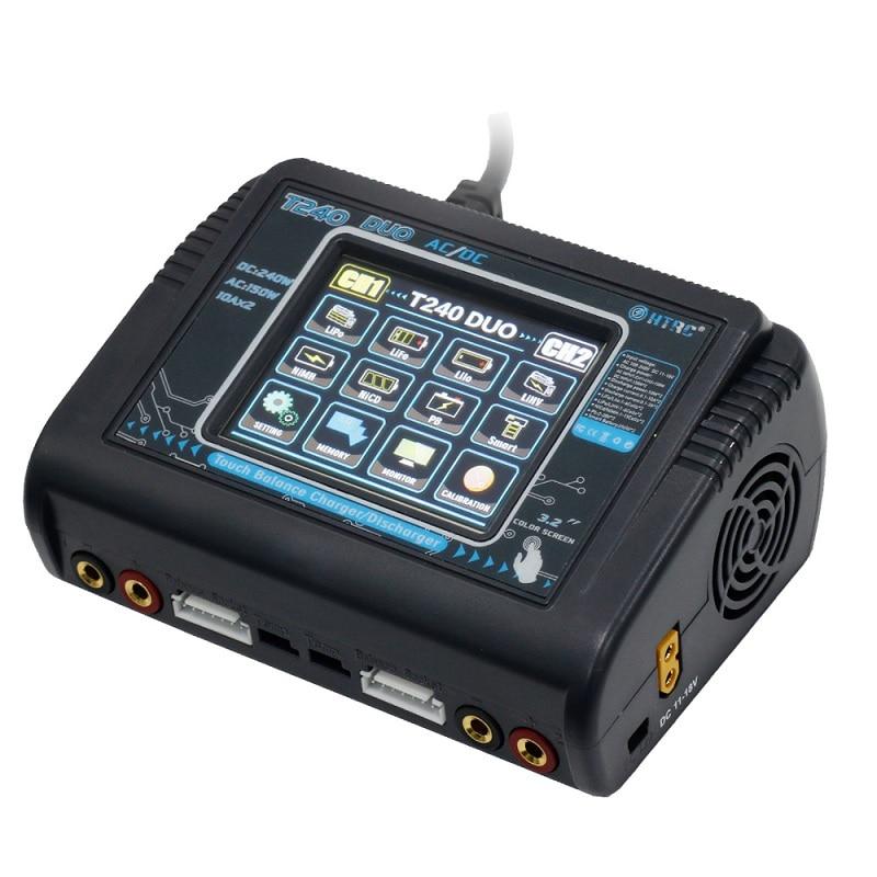 Oyuncaklar ve Hobi Ürünleri'ten Parçalar ve Aksesuarlar'de HTRC T240 DUO AC 150 W DC 240 W 10A Dokunmatik Ekran Çift Kanallı Pil şarj dengeleyici Boşaltmalar RC Modelleri Için oyuncaklar'da  Grup 1