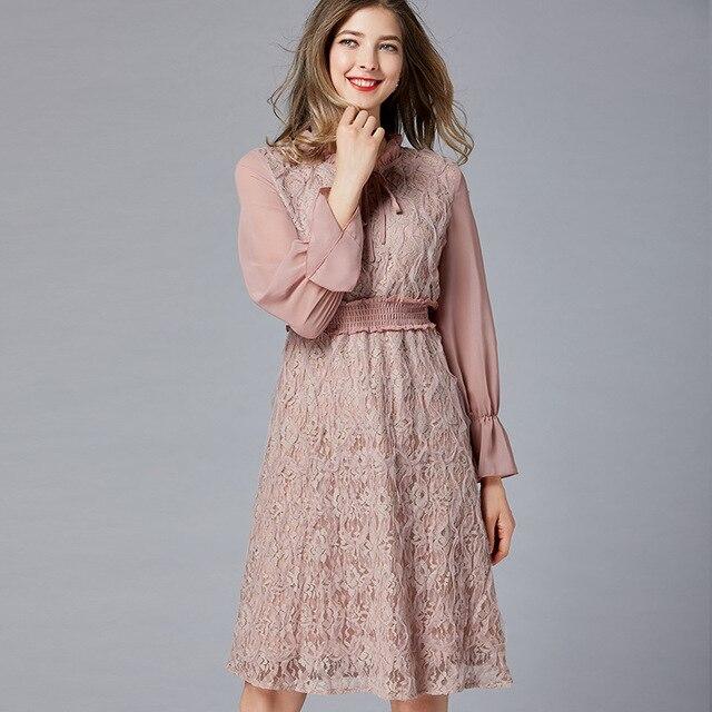 Plus Size Lace Chiffon Bow Long Sleeve Elastic Waist Tunic Draped Dress  Women Elegant Vintage Office Party Beach Dress Clothing