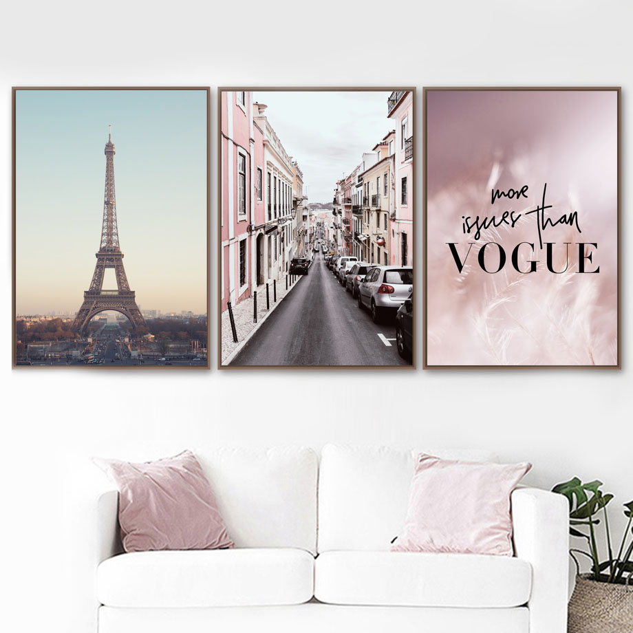 Pink Feather Paris Tower Road Wall Art Canvas Painting Nordic Posters And Prints Wall Pictures For Living Room Home Decor(China)