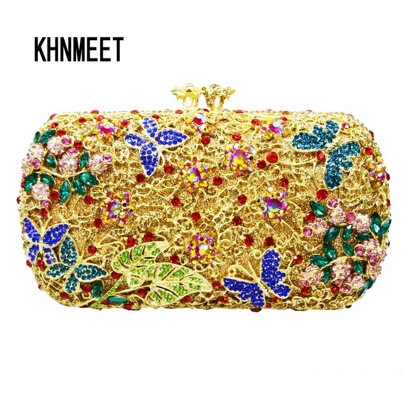 Butterffly designer fashion clutch bags ladies party purse gold alloy inlay colorful luxury crystal women evening bags SC158