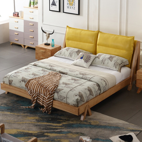 Home Bed Bedroom Furniture Home Furniture Nordic Simple Modern Solid Wood Bed 1.5m/1.8m Double Bed With Mattress Wholesale 2017 High Safety Home Furniture Beds