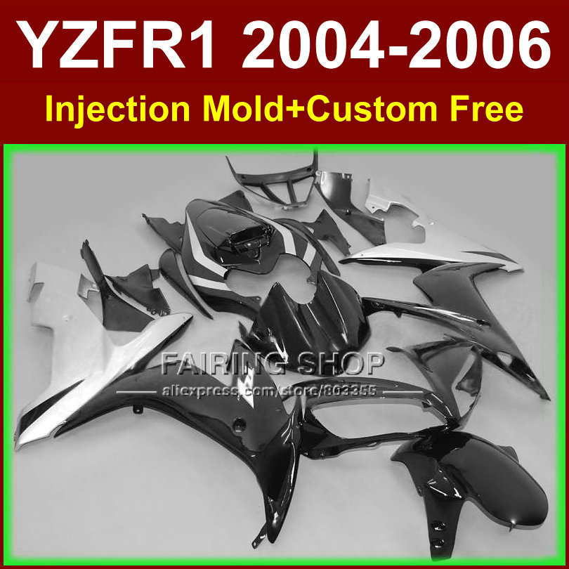 Custom paint Injection fairings kits for YAMAHA R1 2004 2005 2006 YZF R1 04 05 06 YZF1000 black silver motorcycle fairing parts 7 gifts motorcycle abs fairings kits for 2003 2004 2005 yamaha yzfr6 blue black yzf r6 03 04 05 fairing kit body repair parts