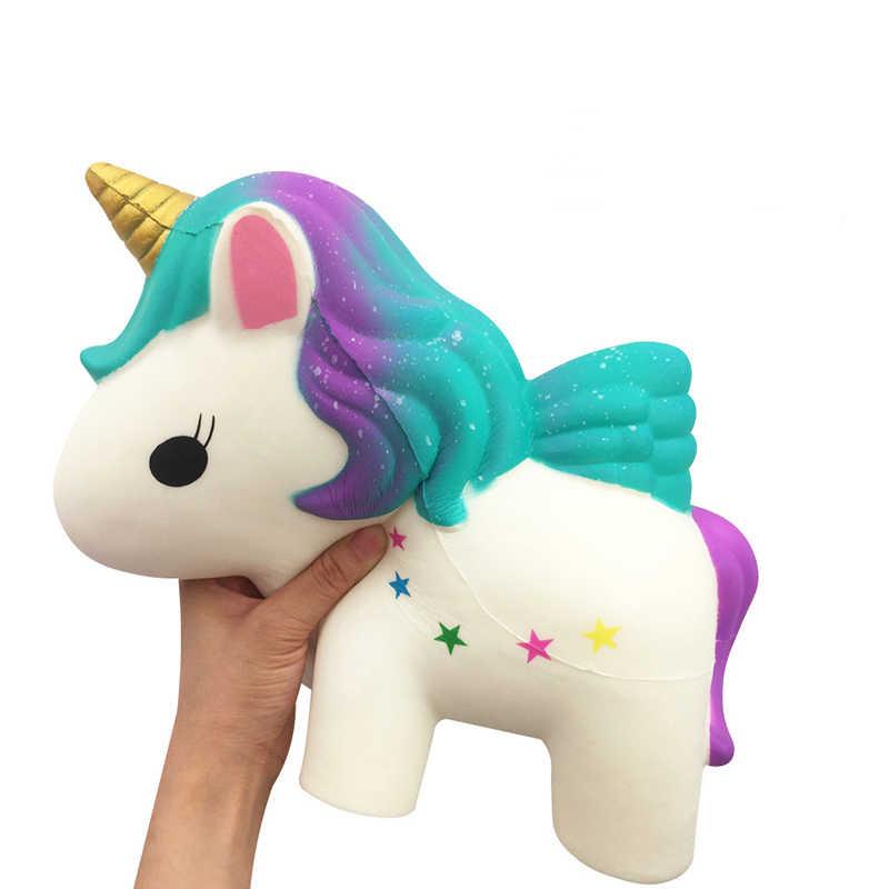 Огромные мягкие игрушки, милый супер большой единорог, лошадь, медленно поднимающаяся, Летающий Единорог, мягкие игрушки для снятия стресса, детский антистресс, подарок
