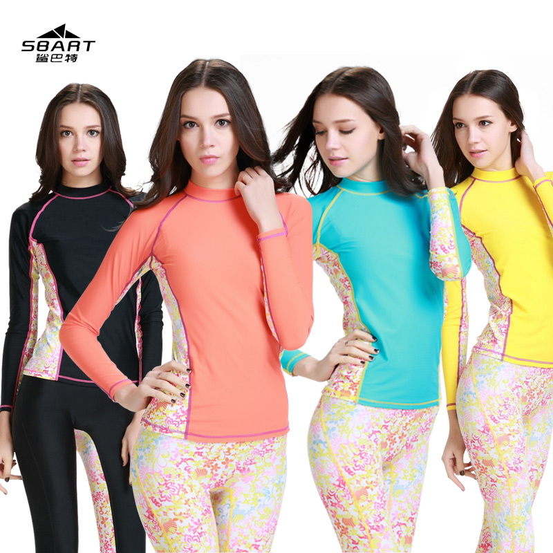SBART2015 Swimwear female spandex Rash Wetsuit compression tights wears quick dry body suit Surf Rash Guard women