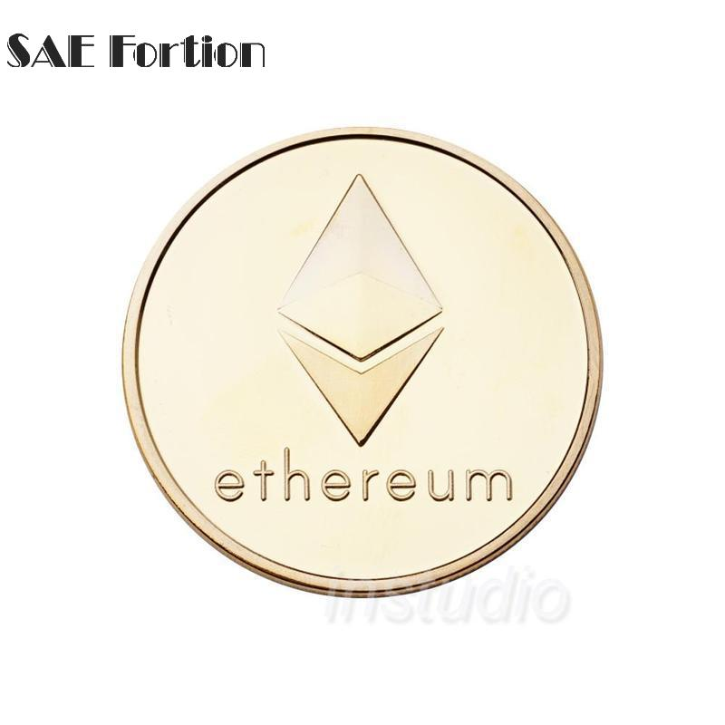 Gold/ Silver Plated Ethereum Coin Coins Collectibles Mteal Art Antique Coins Gift For Home Decoration JNB9574