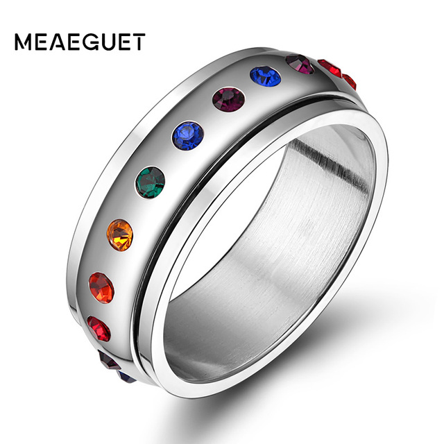 meaeguet trendy rainbow crystal gay pride rings for women men stainless steel wedding rings female party - Rainbow Wedding Rings