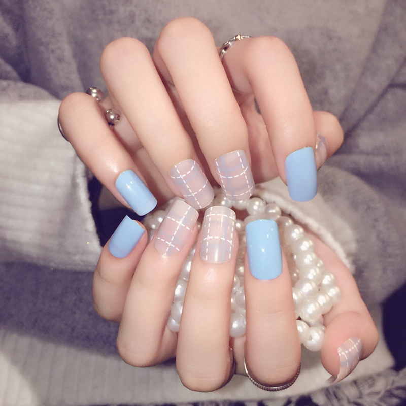 24pcs Sky Blue Artificial Nails Fashion Grid Acrylic full cover ...