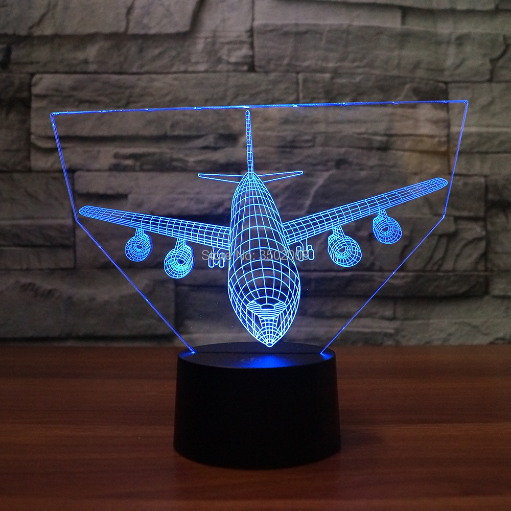 3D new airplane shape small night light 7 Changing Colors LED baby sleep Lamp as amazing gift or club home hotel decoration