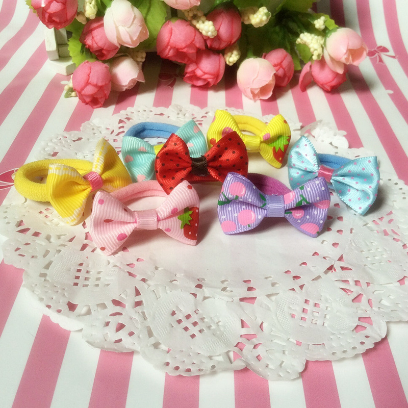2017 Fashion Korean Cute Headband Bow Candy Color Towel Elastic Hair Bands Accessories Print Flower Ties for Girls Gift 10 Pcs