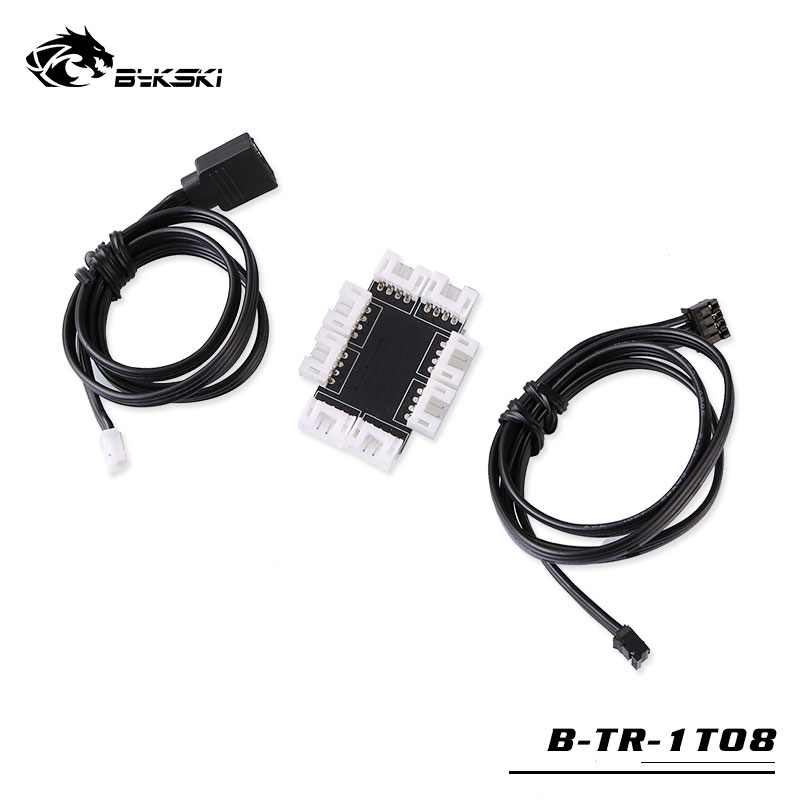 Bykski 5V 3PIN Spliter 1 TO 8 hub 5v lighting sync motherboard HUB support sevreal fan connect to mainboard B-TR-1TO8 1