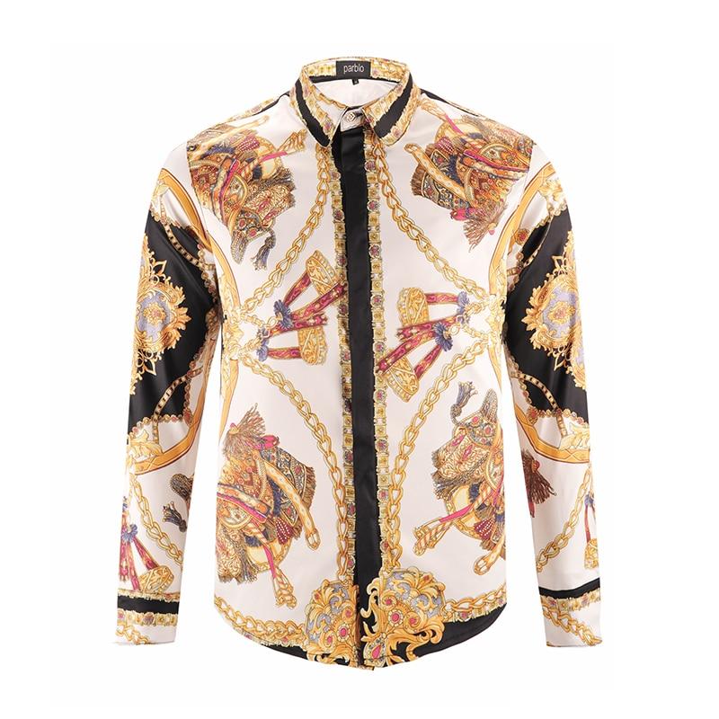 Printed Men Dress Shirt Splashed Paint Pattern Printed 3D Shirt Slim Fit Male Long Sleeve Shirts chemise homme Plus Size9183