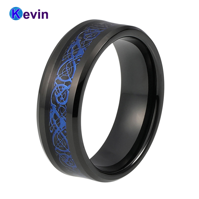 Mens Wedding Band Black Tungsten Carbide Ring With Black Carbon