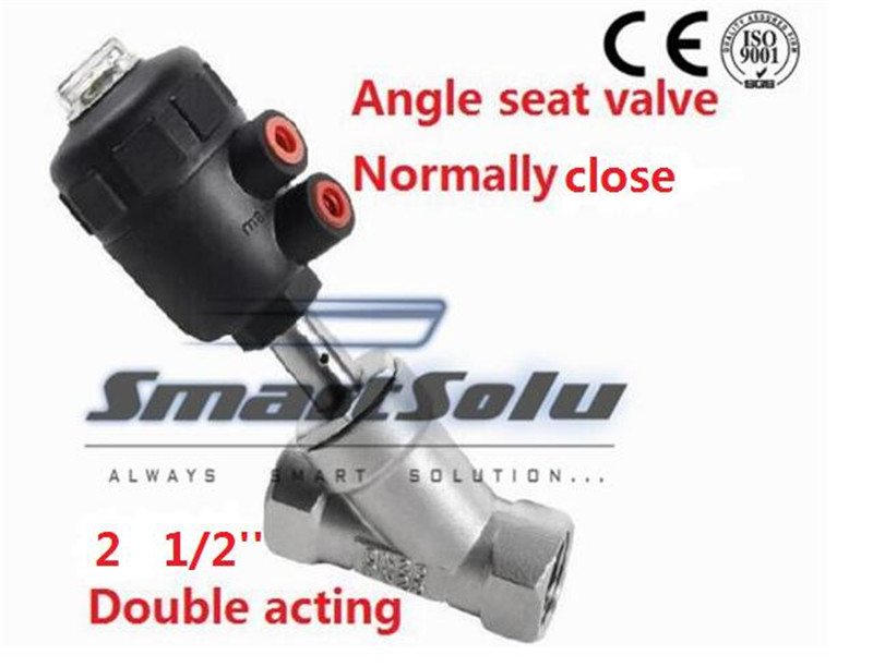 Free shipping actuator plastic angle seat valve DN65 2 1/2 inch normally close double acting high temperature ss304 body valve аккумулятор ks is ks 351 25000mah black