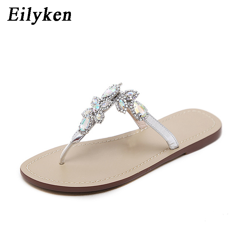 Eilyken 2019 New Leisure Woman Sandals Slippers Shoes Rhine stones Crystal Chains Gladiator Flat Sandals Plus Size 35-43