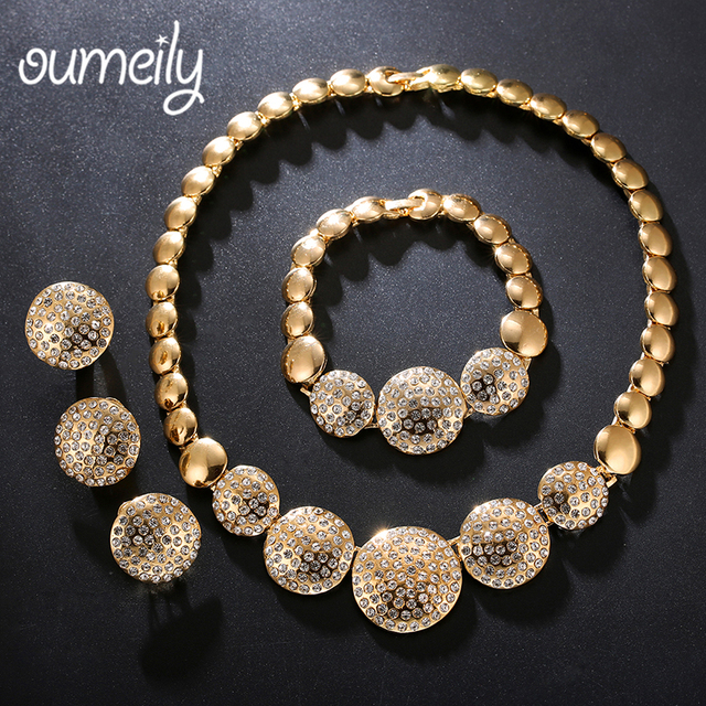 OUMEILY Jewelry Sets Women Luxury Bridal Indian African Earring Set Gold Color Nigerian
