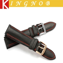 18mm 19mm 20mm 21mm 22mm Black with red stitch Genuine leather Watchband Watch Strap for Omega Tissot Seiko watch band